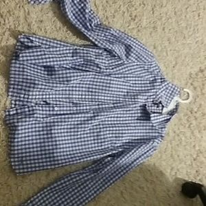 Talbots blue plaid t shirt